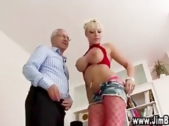 breasty golden-haired in nylons receives off