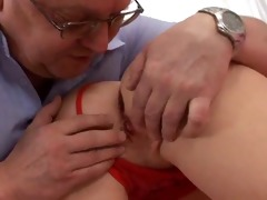 cute slender blond drilled by old man,by