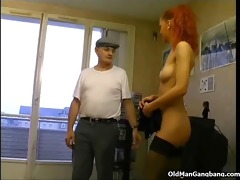 maid in stockings receives gangbanged