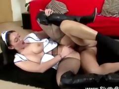 concupiscent nurse acquires vagina drilled on the