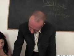 lascivious schoolgirl sucks and copulates her