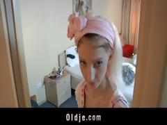 lewd hotel maid copulates an oldman customer