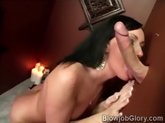 lascivious brunette hair blows her priests meat