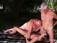 two slutty old dudes drilled by juvenile chick