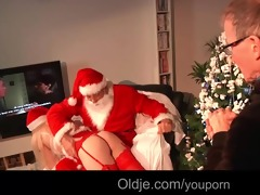 obscene santa gives wicked teenie a hard spank