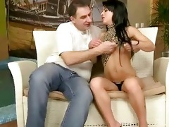 youthful dark brown enjoys sex with grand-dad