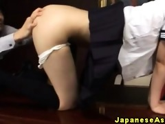 oriental schoolgirl acquires a toy in her arse