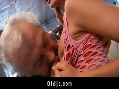 old man fortunate to fuck a hawt juvenile redhead