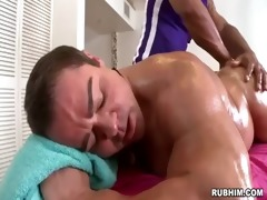 muscled dad stripped as athletic masseur strokes