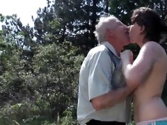 old grandpapa copulates juvenile whore outdoor