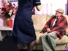 euro fetish nurse strokes old schlong