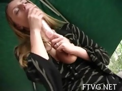 playgirl plays with fake penis