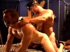 hot muscle daddy rides his hot muscle bottom boy,