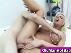old guy copulates sexy younger honey
