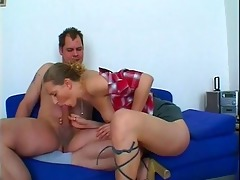 excited playgirl gives slutty dad three-some head