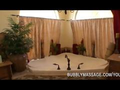 pornstar giving bubbly massage