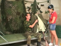 legal age teenager drilled by old military guy